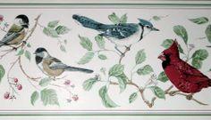 "North American Birds Wallpaper Border  Cardinals  Blue Jays  15' x 7""       NEW"