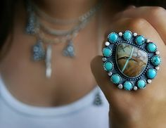 Reserved (Balance) - Your Souls Flower - Turquoise Sterling Silver Cluster Ring. $181.50, via Etsy.