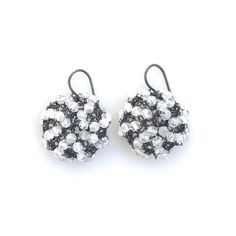 A classic. Round, faceted moonstone beads are hand-crocheted with oxidized silver wire and suspended from oxidized silver earwires. Approximately wide. Handmade in California. Black Quartz, Oxidized Silver, Hand Crochet, Cosmos, Diamond Earrings, Crochet Earrings, Fine Jewelry, Beads, Mini