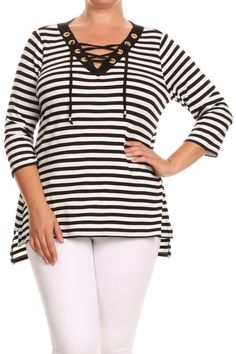 1ddf97909a1c Be your own kind of beautiful with Belldini plus size clothing. This lace  up striped