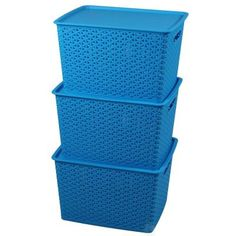 Basicwise G. Blue Plastic Storage Container box with Lid, Set of - The Home Depot
