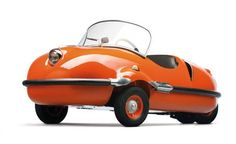 1956 Avolette Record Deluxe. Most Avolettes were three-wheelers, but you can see this one has four. It has a single-cylinder engine of 250cc making 14 horsepower.