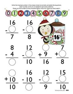 Math Facts: Winter Edition (Addition and Subtraction) Math Addition, Addition And Subtraction, Addition Games, Math Homework Help, Homework Club, College Math, Math Projects, Second Grade Math, Fun Math