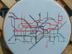 London Tube System Embroidery Hoop Art by lonelymtnembroidery Silk Ribbon Embroidery, Embroidery Hoop Art, Cross Stitch Embroidery, Embroidery Patterns, Machine Embroidery, Embroidery Shop, Train Map, Diy Broderie, Diy Sewing Projects
