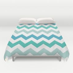 Shades Of Blue Chevron  Duvet Cover by KCavender Designs - $99.00 #Duvet #Cover #Bedding #Bedroom #Decor By #KCavenderDesigns