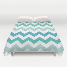 Shades Of Blue Chevron  Duvet Cover by KCavender Designs - $99.00 #Duvet #Cover #Bedding #Bedroom #Decor By #KCavenderDesigns