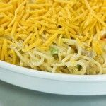 Cheesy Chicken Spaghetti. Tasty casserole. Freezes well. Substitute green chiles for the green bell pepper.