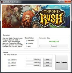 Throne rush hack tool cheats no survey or password for free download. Get unlimited gold, coins, gems by using Throne rush hack for android & ios.