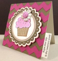 handmade card ... chocolate & magenta ... great big chevrons form the background ... sweet flower tops a cupcade ... like this card ...