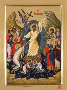 Christ is risen! The Resurrected Christ (detail from the icon of Christ appearing to St. Byzantine Icons, Byzantine Art, Religious Icons, Religious Art, Saint Gregory, Christ Is Risen, Religion Catolica, Life Of Christ, Jesus Resurrection