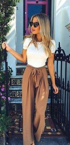White tee and tie pants.