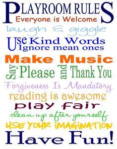 Playroom Rules Free Printable