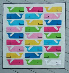 Lilly Pulitzer inspired Preppy the Whale quilt made pattern testing for the…