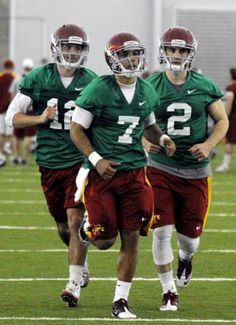 Iowa State quarterbacks, from left, Sam Richardson, Jared Barnett and Steele Jantz run during the first spring practice of the year on Tuesday afternoon.