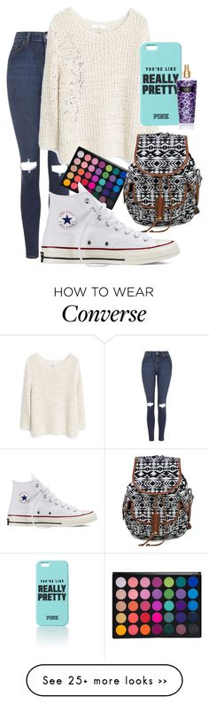 """Pretty"" by lauraumi on Polyvore featuring Topshop, MANGO and Converse"