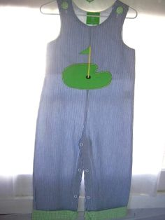 NWT Mud Pie Boy Golf Long All 1 Piece Outfit 2T/3T Blue White Daddy's Caddy