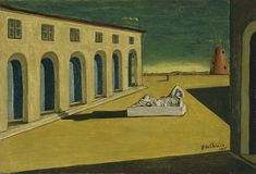 Giorgio De chirico'Metaphysical Town Square' series, The Enigma of an Autumn Afternoon, after the revelation he felt in Piazza Santa Croce