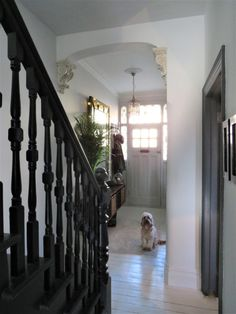 Entrace hallway, Victorian terrace hallway, black painted staircase, Farrow & Ball Railings, white p Dark Staircase, Staircase Railings, Staircase Design, Banisters, Painted Staircases, Painted Stairs, Victorian Terrace Hallway, White Painted Floors, Hallway Designs
