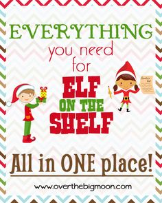 EVERYTHING you need for Elf on the Shelf! Tons of ideas and free printables all in one place! This is the one stop everything you need for Elf on the Shelf! Great Elf Ideas and Materials! Christmas And New Year, All Things Christmas, Winter Christmas, Christmas Holidays, Christmas Crafts, Christmas Ideas, Xmas, Christmas Decorations, December Holidays