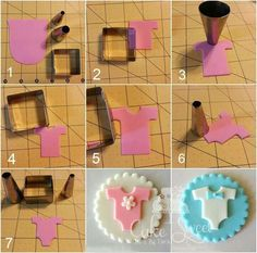 Fondant baby onesie (square cookie cutter and I round decorating tip use each end)