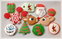 Rudolph the red nosed reindeer cookies, Clarice cookies, santa, bumble