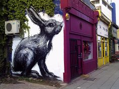 Giant Rabbit, Hackney Road. Storefronts with color. Great mural!