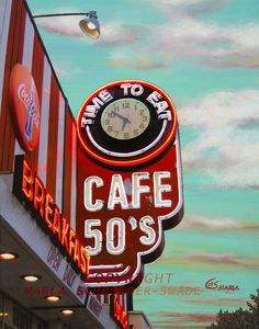 Neon 50's Cafe. Makes me crave milkshakes and sodas next to a juke box!