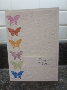 Random Memories: Pinterest Inspired Cards - dry embossing over stamped image
