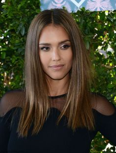 Jessica Alba looked radiant with natural complexion, silver eyes, nude lips and…