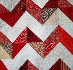 Chevron Lap Quilt Red White