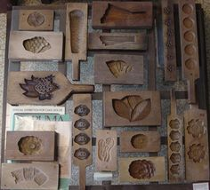 Antique wooden cookie molds A collection of these could be cool hanging on a wall