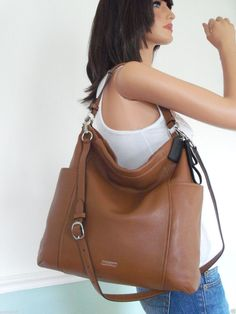 designer for discount coach bags outlet store by25  NWT COACH Gorgeous Brown Leather Shoulder Bag Crossbody Hobo Purse Handbag