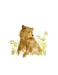 Watercolor Bear - Sitting in a Field of Fennel - Original Illustration Print on Etsy, $10.00