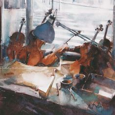 Folly, Marc - Violins #artwork, #abstraction, #painting, #design, #composition