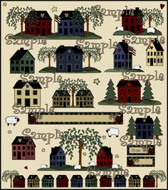 Primitive Clip Art Weeping Tree | Primitive Salt Box Houses and Shaker Houses Country Graphics Clip Art ...
