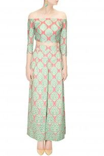 Mint and coral chanderi printed crop top with palazzo pants