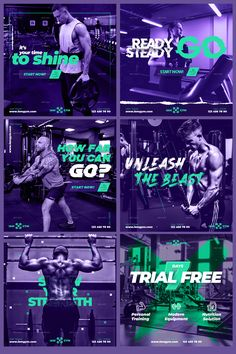 12 Fitness Gym Social Templates - Square PSD. So amazing and eyecatching for Fitness Gym branding and marketing. You only need to edit texts and put your own photos. #gymdesign #gymmarketing #gymbusiness #fitnessbusiness #gym #fitness #design #fitnessequipment #gymequipment #crossfit #workout #fitnessindustry #gymfranchise #fitnessaddict