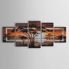Hand-painted Landscape Oil Painting with Stretched Frame - Set of 5 - USD $ 125.99