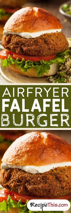 Airfryer Falafel Burger From RecipeThis.com