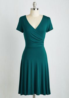 Botanical Breakfast Dress in Forest - Green, Solid, Work, A-line, Short Sleeves, Knit, Good, Variation