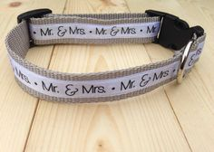 Is your fur baby part of your wedding? You will want to get this Mr. and Mrs. print dog collar. This stylish dog collar is a handsome accessory for your precious fur baby and your wedding. It has been