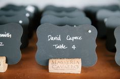 Chalkboard & wine cork place cards {So Eventful}