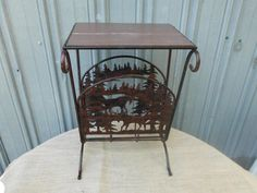 vintage magazine racks for sale | Vintage Rustic Moose End Table Magazine Rack Fireplace Log Wood ...