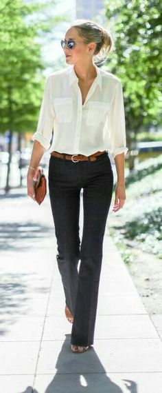 Wide leg denim in a dark wash are a great work option for casual Friday. Pair th… Wide leg denim in a dark wash are a great work option for casual Friday. Pair them with a silk button up and tan belt for a timeless, desk to dinner look. Business Outfit Frau, Business Attire, Business Style, Business Casual Female, Business Professional Women, Business Women, Fashion Mode, Work Fashion, Womens Fashion