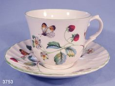 James Kent Strawberries and Butterflies Vintage Bone China Tea Cup and Saucer