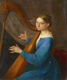 Porträt einer jungen Dame mit Harfe von Timoleon Carl Nehf von Neff - Künstlerdatenbank - VAN-HAM Kunstauktionen