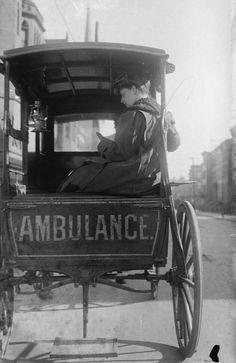 Dr Elizabeth Bruyn in her horse drawn ambulance ( New York City circa 1910)