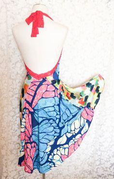 Corazones y mariposas abierto nuevo vestido halter. Vestido de tango. Vestido de noche