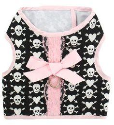 Dog Clothes Pink Skulls Harness Vest