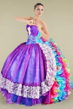 Fairytale Strapless Quinceanera Gown Featuring Cascading Rainbow Ruffles